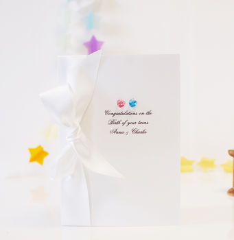 Bedazzled Keepsake Personalised New Baby Twins Card