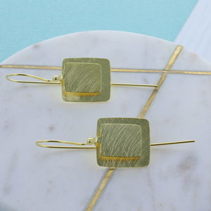 Brushed Gold Square Earrings