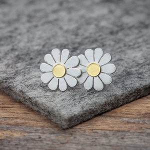Little Daisy Earrings In Solid Silver And 18ct Gold - earrings