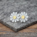 Little Daisy Earrings In Solid Silver And 18ct Gold