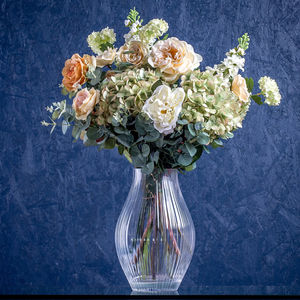 Cream, Green And Apricot Faux Flower Bouquet - flowers, plants & vases