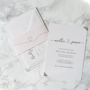 Copper/Gold/Silver Hearts Wedding Invitation - reply & rsvp cards