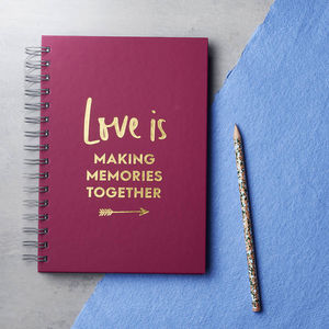 Personalised 'Love Is' Foiled Notebook