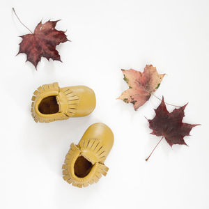 Mustard Leather Moccasins - clothing