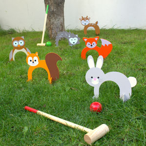 Woodland Animal Croquet Set - wedding day activities