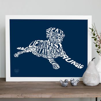 Typographic dog print in navy