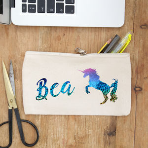 Personalised Rainbow Unicorn Pencil Case