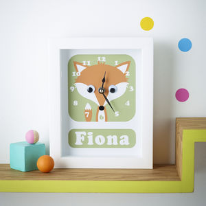 Personalised Framed Animal Clocks - baby's room