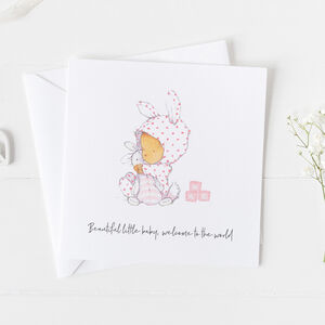 New Baby Card For Girls, Christening Card Girls ..3v11a
