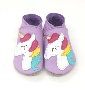 Girls Soft Leather Baby Shoes Unicorn Lilac