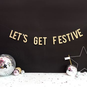 Christmas Party Banner Decoration Lets Get Festive