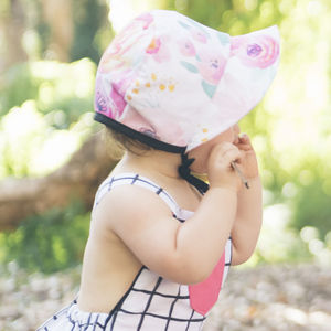 Blush Floral Baby Bonnet / Girls Sunhat