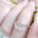 Adjustable Sterling Silver Twig Ring