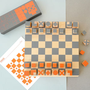 Contemporary Wooden Chess Set - traditional toys & games