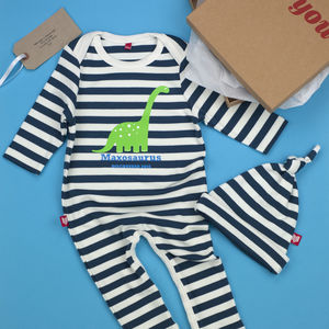 Personalised Dippy Dinosaur Baby Gift Set - clothing