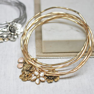 Flower Stacking Bangle Set - wedding fashion
