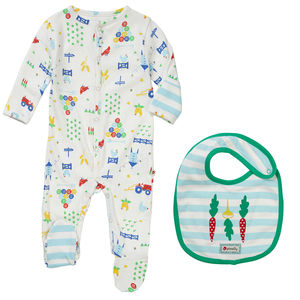 Baby Sleepsuit And Bib Set Farm Print - babygrows