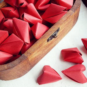 50 Red Origami Heart Love Messages