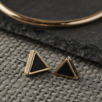 Triangular Gold And Black Howlite Stud Earrings