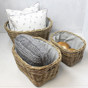 Round Grey Lined Rattan Basket - baskets