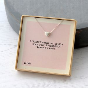 Distance Means So Little Friendship Heart Necklace Personalised Gifts
