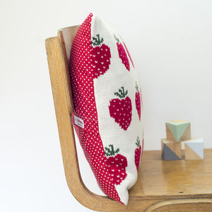 Personalised Knitted Strawberries Cushion - cushions