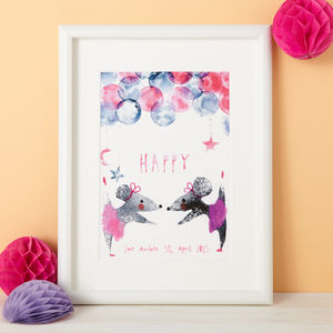 Personalised Baby Girl Nursery Gift Print