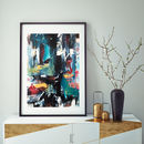 Blue Abstract Art Print Colourful Wall Framed Art