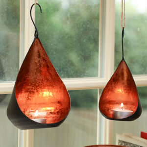 Set Of Two Black And Copper Hanging Candle Holders