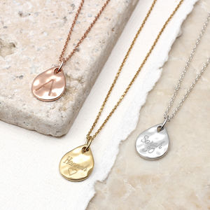 18ct Gold Or Sterling Silver Molten Mini Drop Necklace