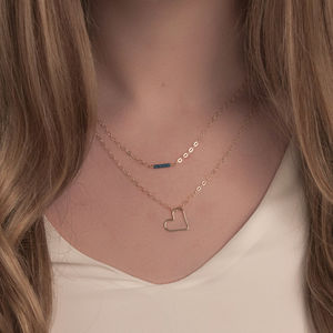 Gold Or Silver Dainty Layered Necklaces With Open Heart