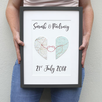 custom made wedding gifts love knot map location gift