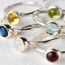Genuine Gemstone Silver Stacking Ring
