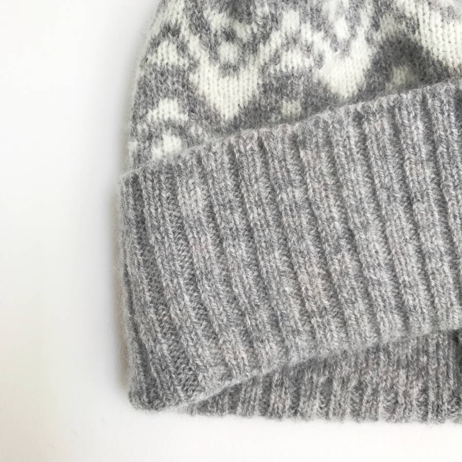 ladies lambswool knitted bobble hat waves pattern by little knitted stars n...
