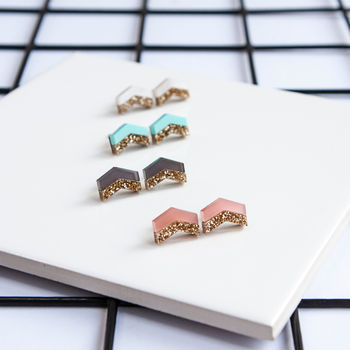 Glitter Chevron Stud Earrings