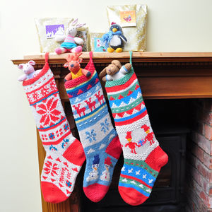 Hand Knitted Organic Cotton Christmas Stocking - stockings & sacks
