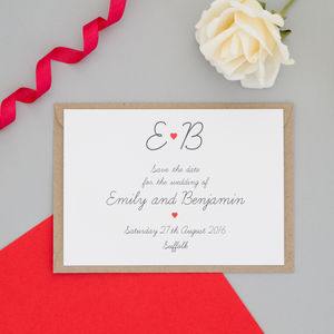Red Heart Wedding Save The Date