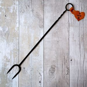 Iron Toasting Fork With Heart Shaped Leather Tab - fireplace accessories