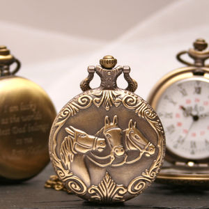 Personalised Bronze Pocket Watch With Horses Design