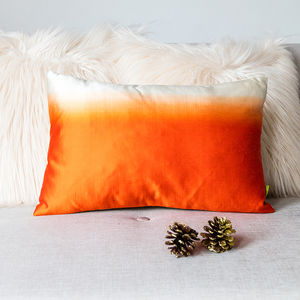 Ombre Silk Orange Cushion - bedroom