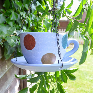 Ceramic Teacup Bird Feeder Polka Dot