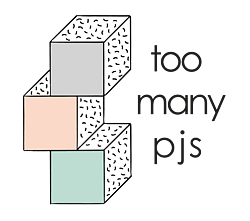 too many pjs logo with sensory building blocks