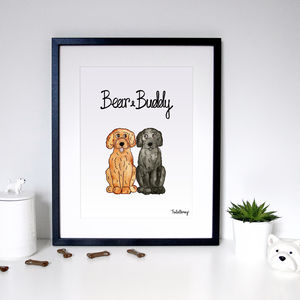 Personalised Pet Dog Portrait Print - pet portraits