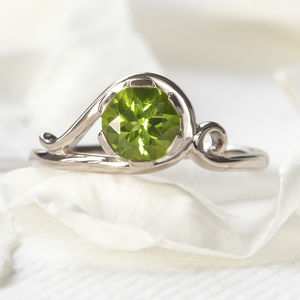 Peridot Art Nouveau Style Ring In 18ct Gold - august birthstone