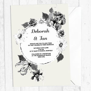 French Floral Personalised Wedding Invitation