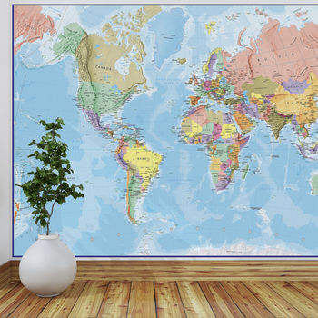 Giant World Map Mural Blue Ocean