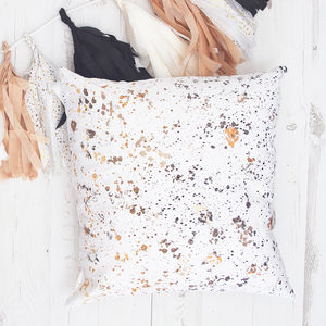 Rose Gold Foil Confetti Pattern Cushion