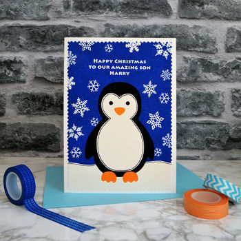 Personalised Christmas Card - Penguin & Snowflakes