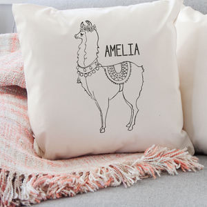 Personalised Monochrome Llama Cushion - gifts for teenagers
