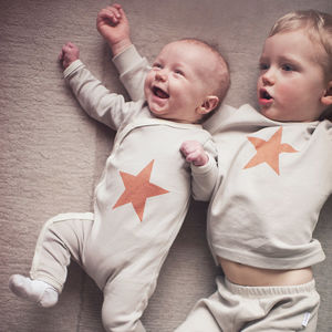 New Brother Or Sister Matching Star Gift Set - babygrows